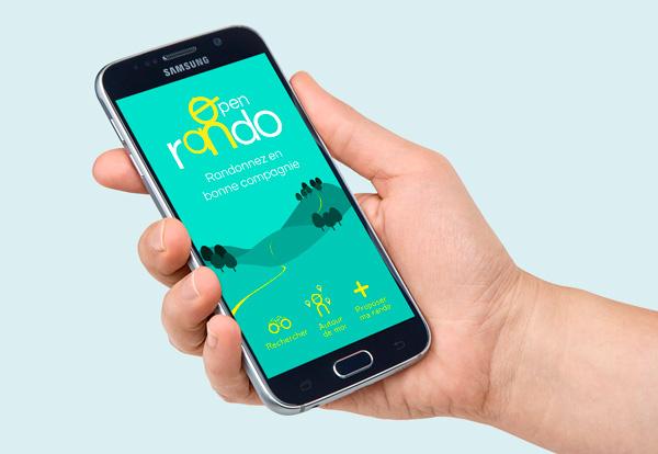 smartphone écran avec collines vertes