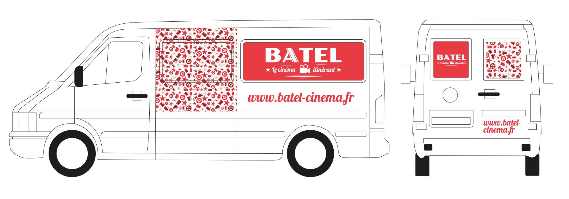 schéma de camion avec décorations rouges