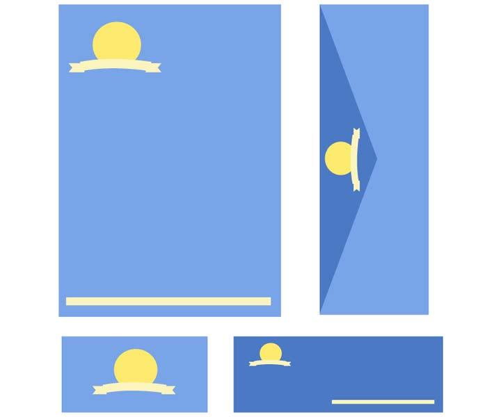 dessin enveloppe et papier bleu et jaune