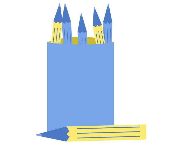 dessin boite bleue et crayons jaunes