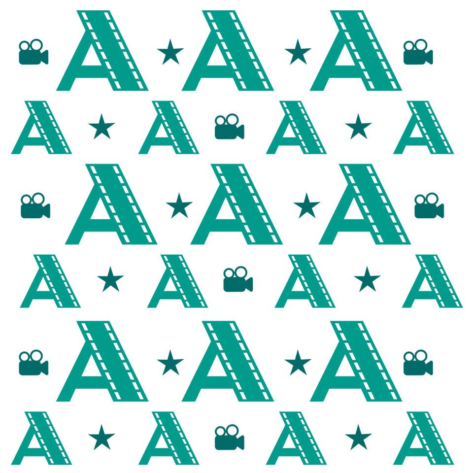 motif en lettre A vertes avec étoiles