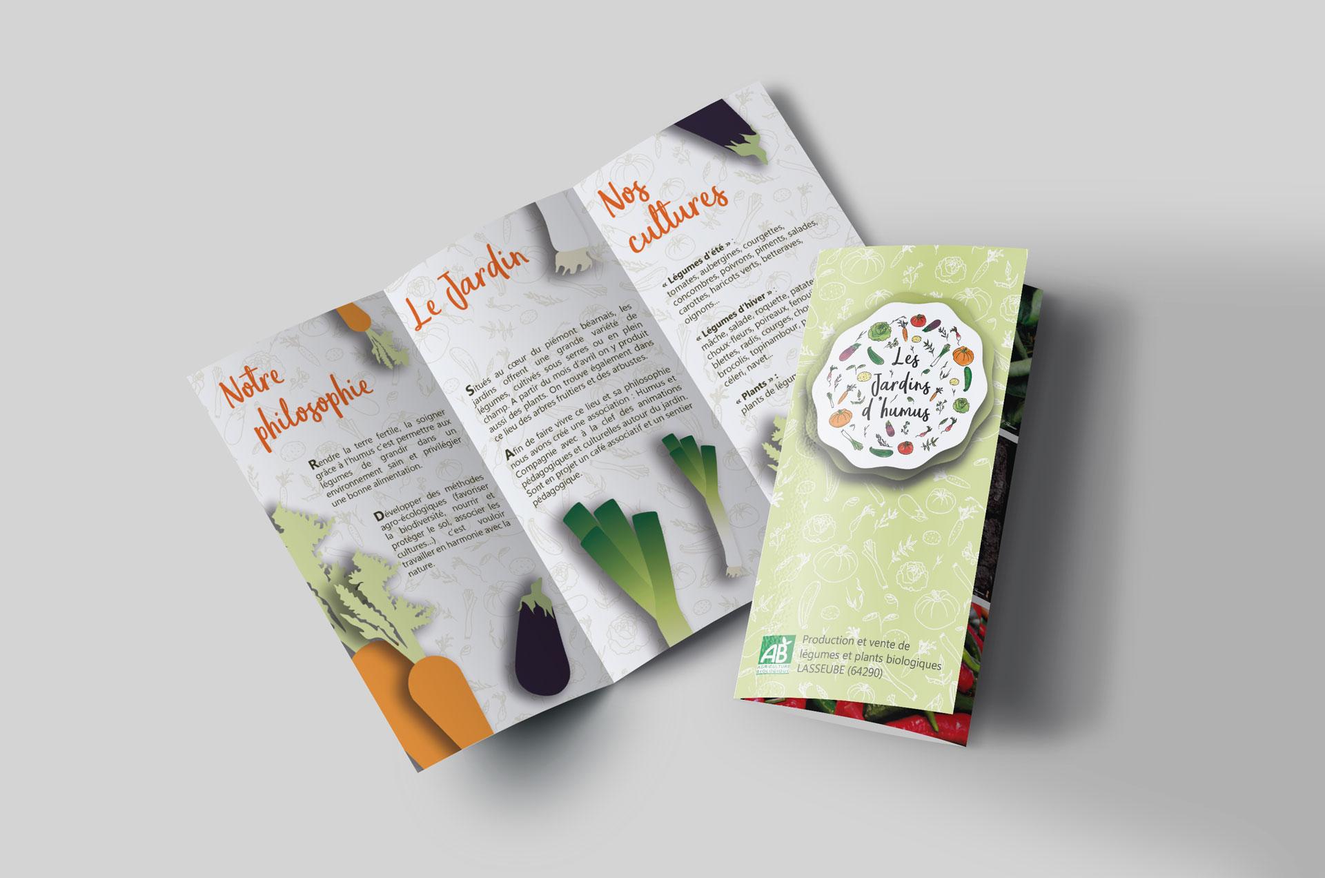 plaquette publicitaire avec légumes