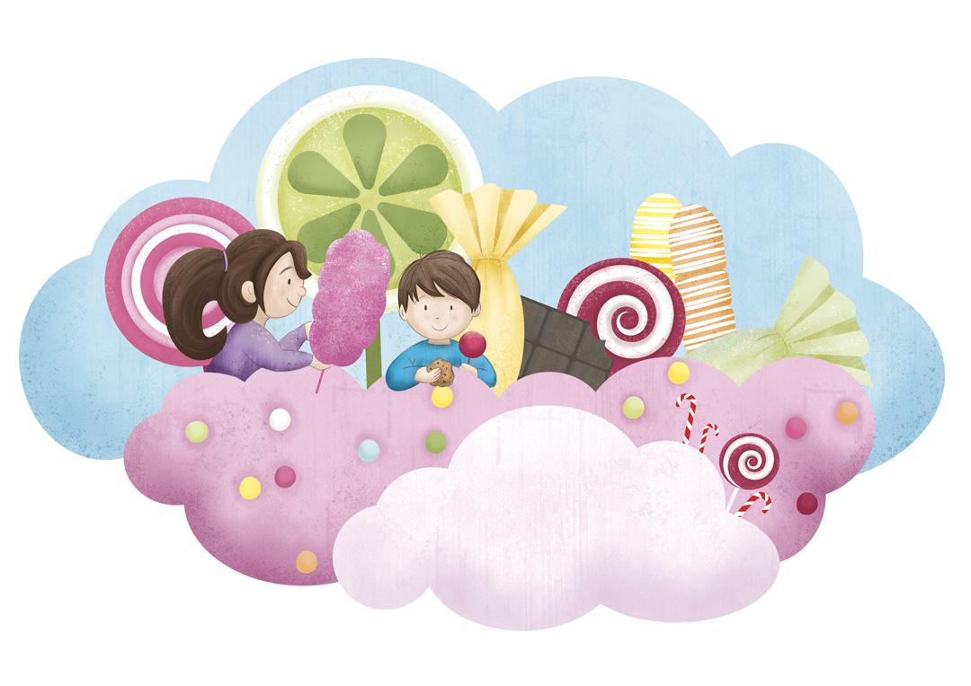 enfants sur un nuage de bonbons
