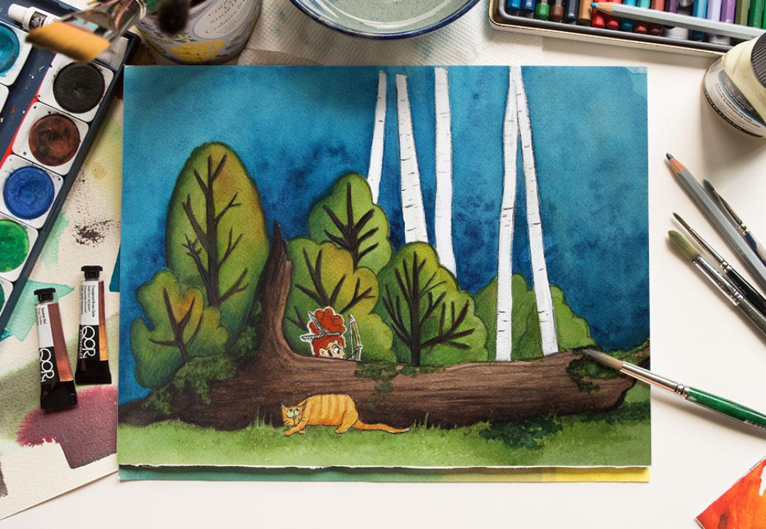 dessin tronc d'arbre fillette et chat