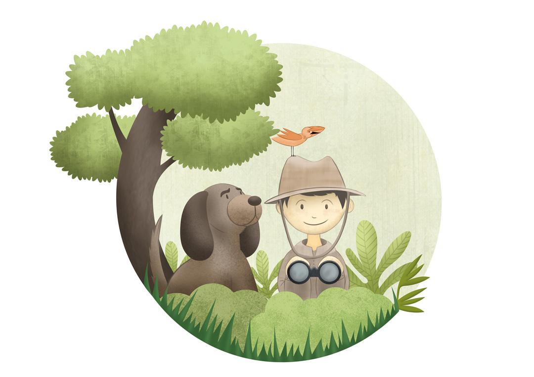 dessin garçon et son chien