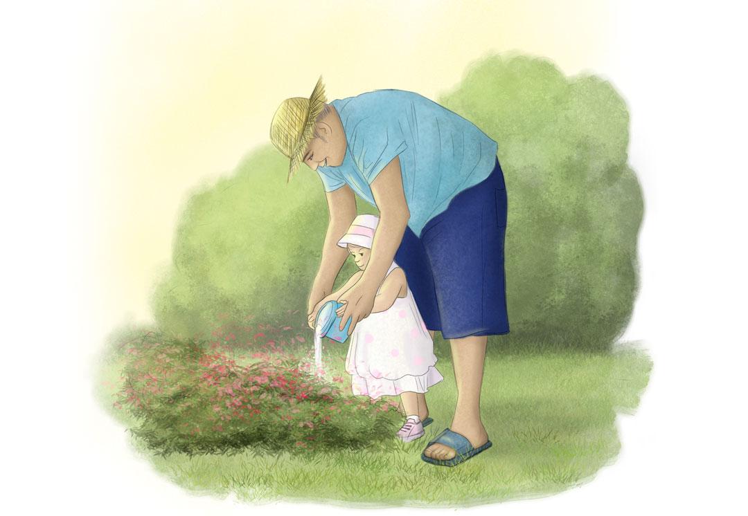 dessin fillette et grand-père dans le jardin