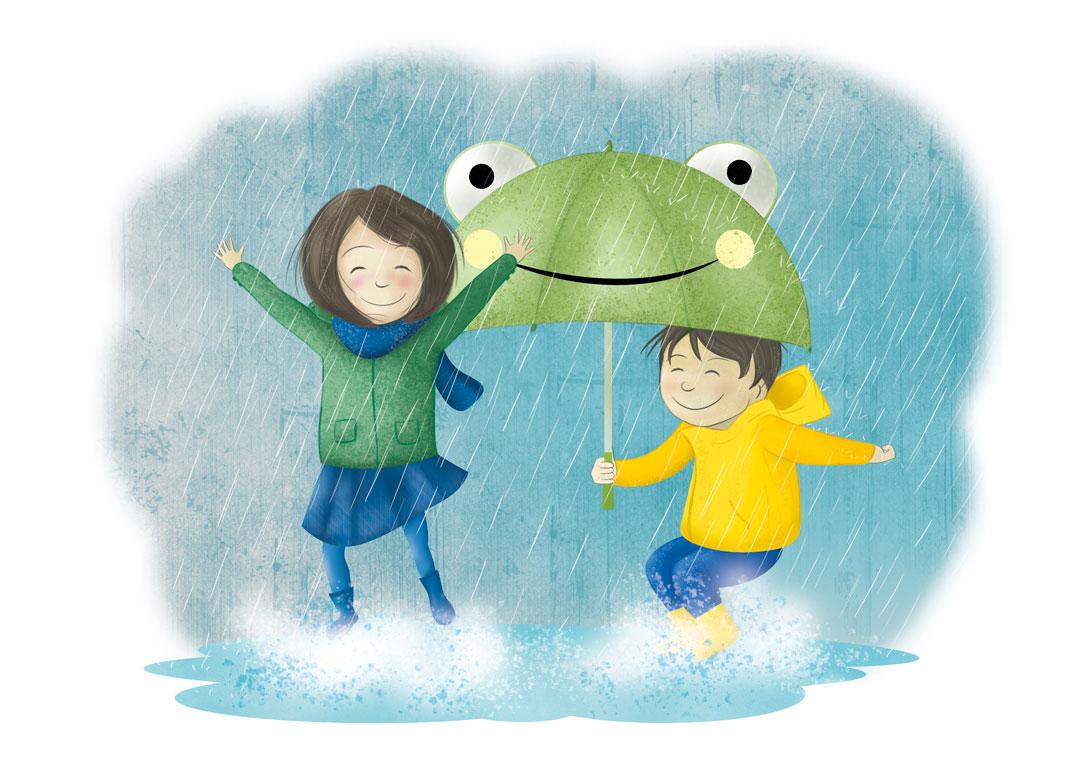 dessin fille et garçon sous la pluie