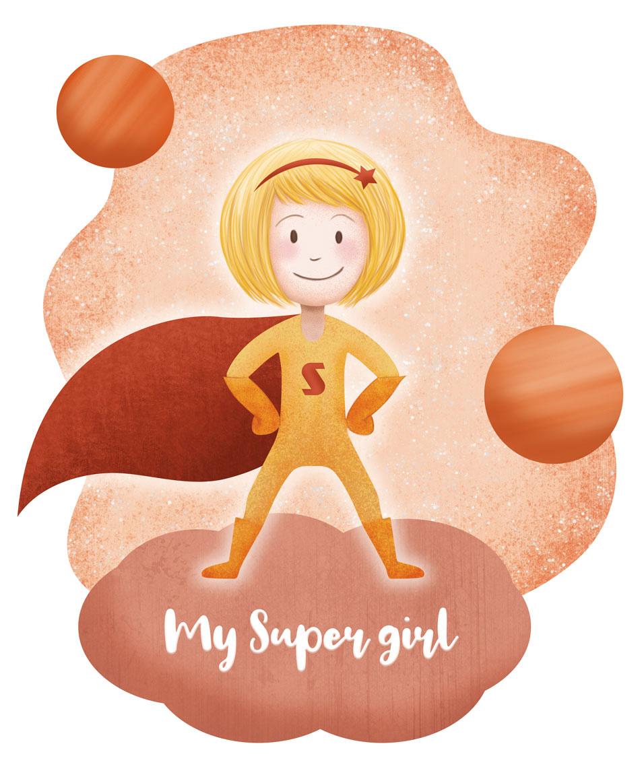 dessin fille en déguisement de super héro