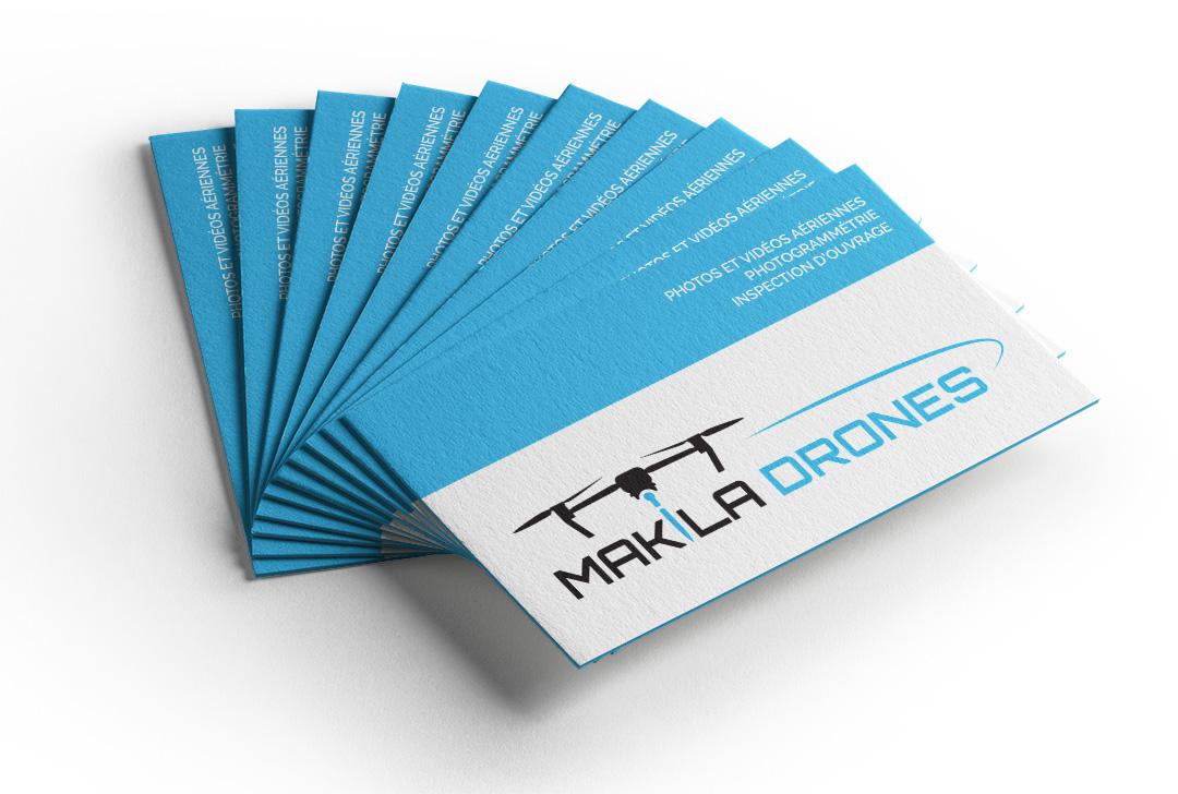 cartes de visite bleues avec drône