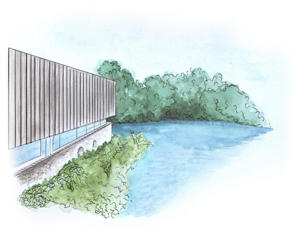 dessin cours d'eau et bâtiment bois