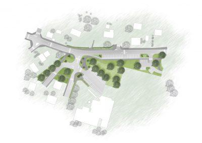 plan paysager avec route