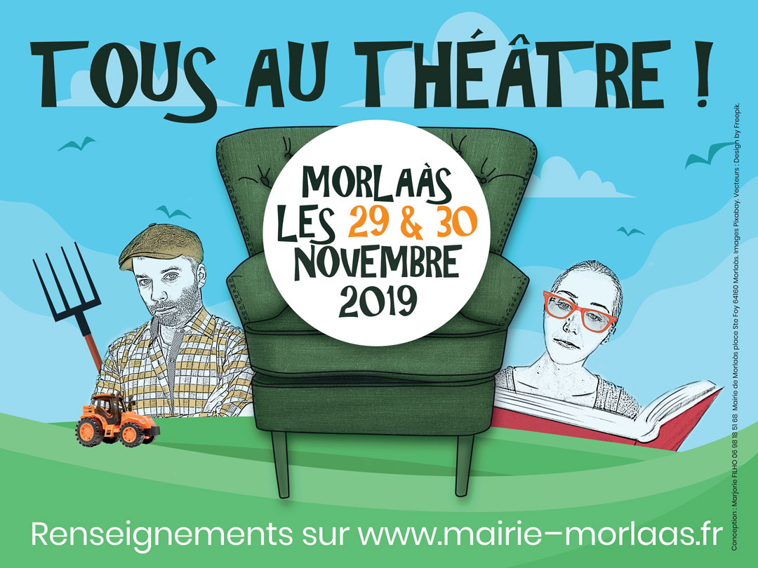 affiche théâtre fauteuil vert