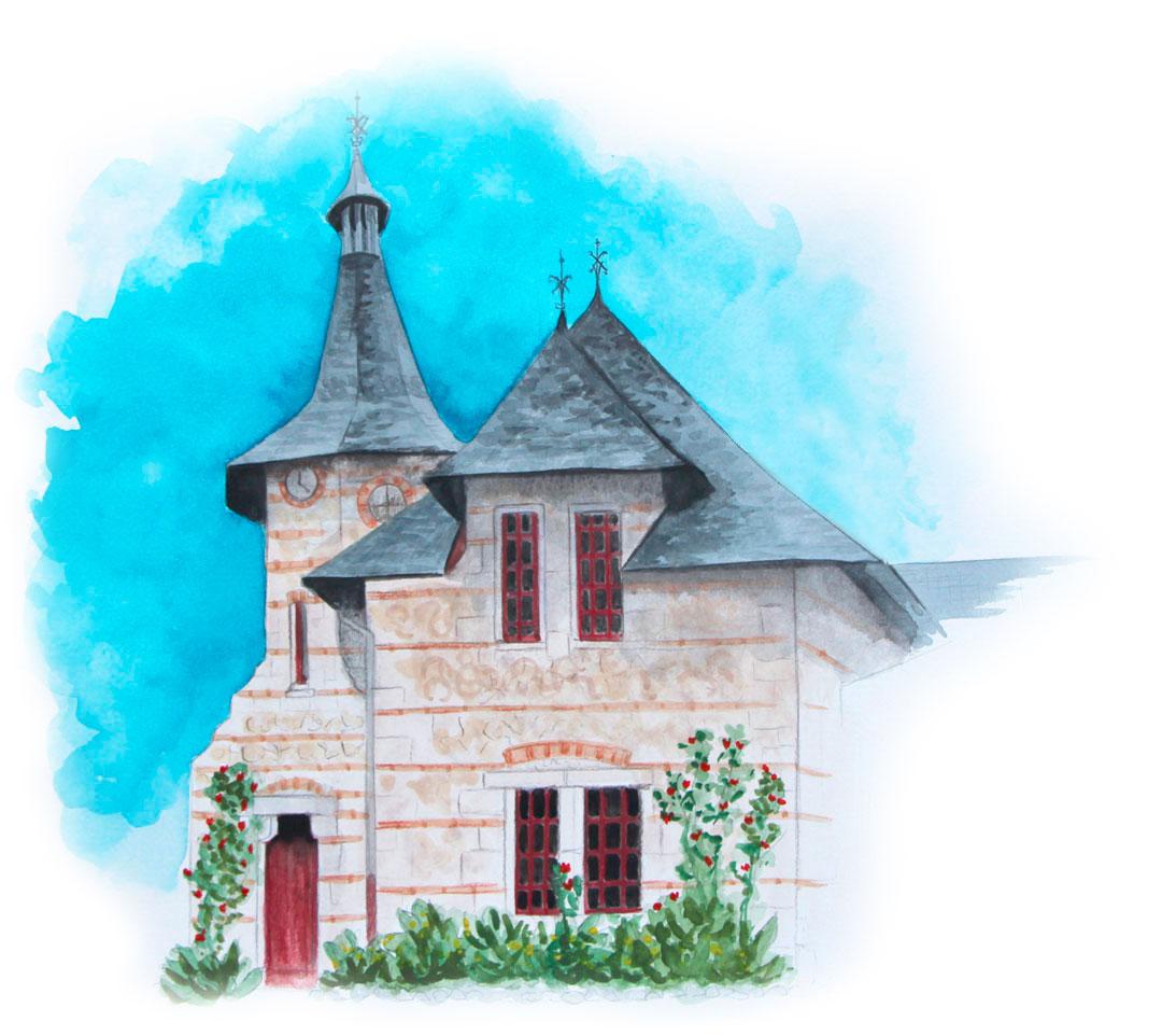 maison en pierre et ciel bleu